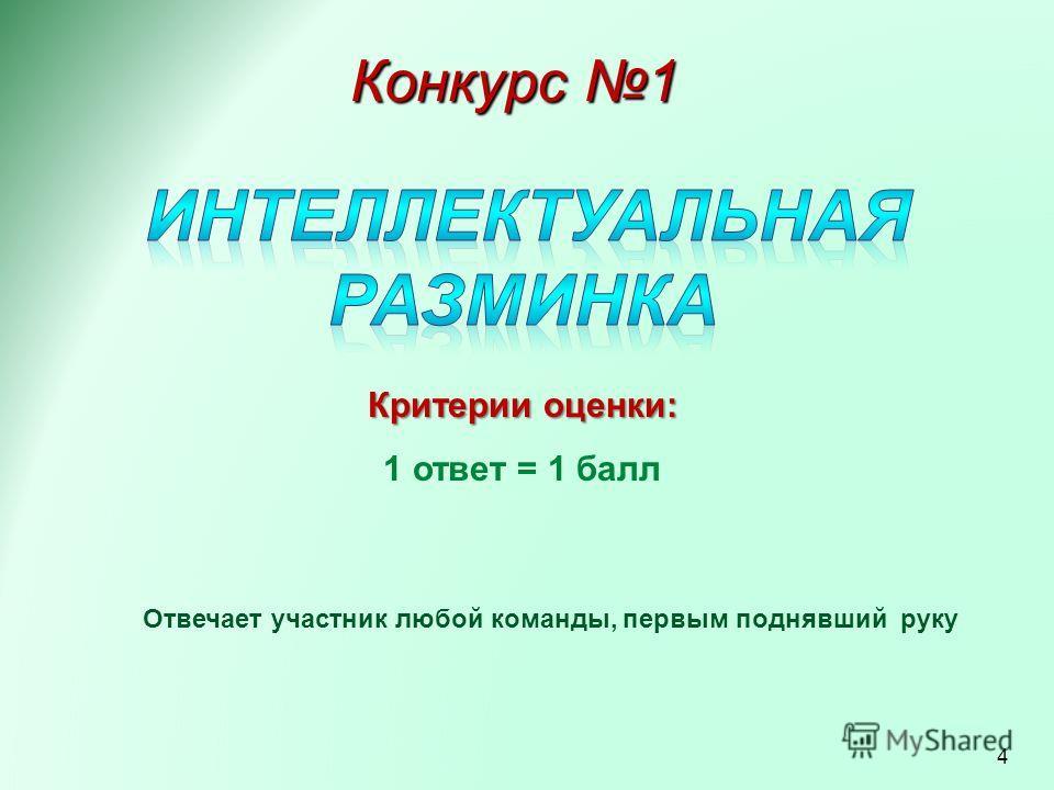 Конкурс 1 Критерии оценки: 1 ответ = 1 балл Отвечает участник любой команды, первым поднявший руку 4