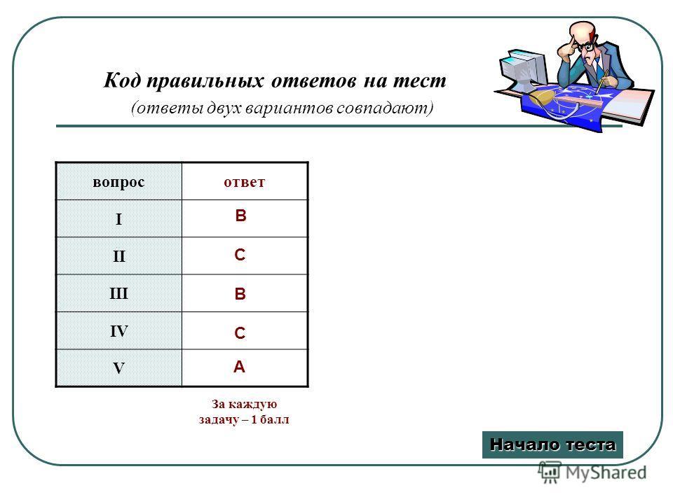 Код правильных ответов на тест (ответы двух вариантов совпадают) вопросответ I II III IV V B C B C A Начало теста Начало теста За каждую задачу – 1 балл