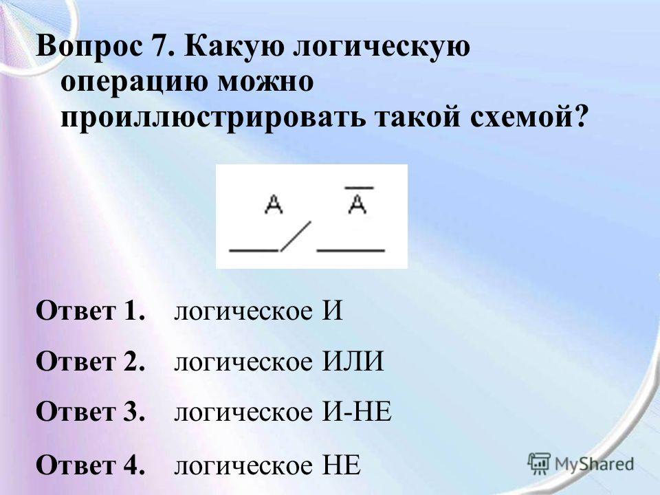 Вопрос 7. Какую логическую операцию можно проиллюстрировать такой схемой? Ответ 1. логическое И Ответ 2. логическое ИЛИ Ответ 3. логическое И-НЕ Ответ 4. логическое НЕ