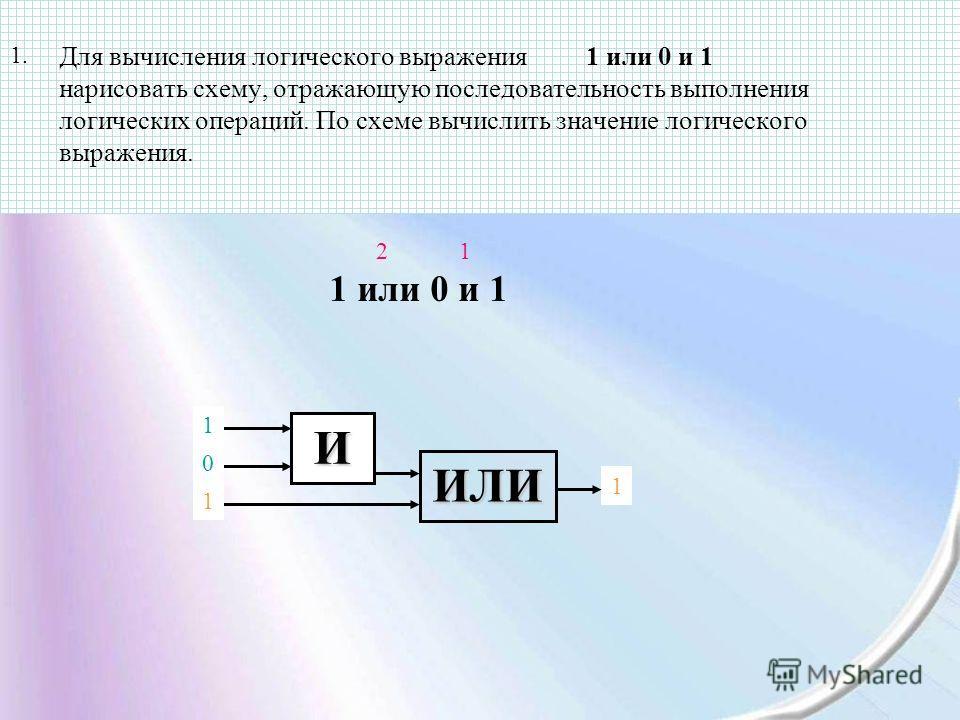 Для вычисления логического выражения 1 или 0 и 1 нарисовать схему, отражающую последовательность выполнения логических операций. По схеме вычислить значение логического выражения. 1 или 0 и 1 12 1 ИЛИ 1 0 1. И 1 0