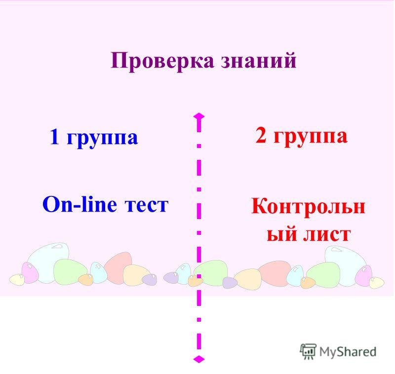 Проверка знаний 1 группа 2 группа On-line тест Контрольн ый лист