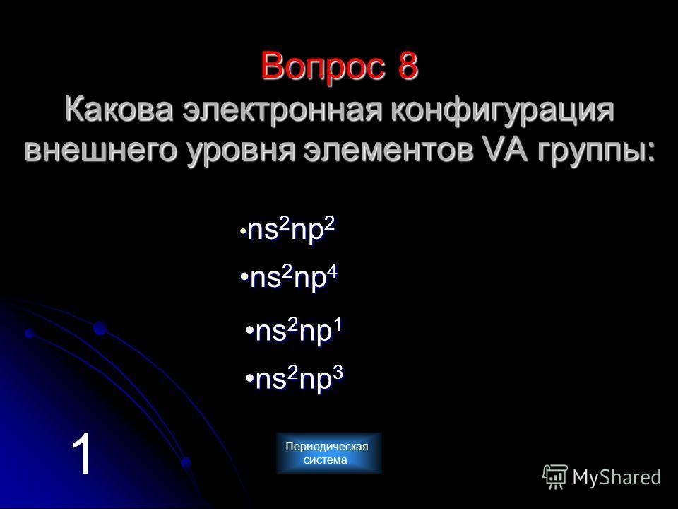 Вопрос 8 Какова электронная конфигурация внешнего уровня элементов VА группы: n n ssss 2222 nnnn pppp 2222 n ssss 2222 nnnn pppp 4444 n ssss 2222 nnnn pppp 3333 n ssss 2222 nnnn pppp 1111 1 Периодическая система