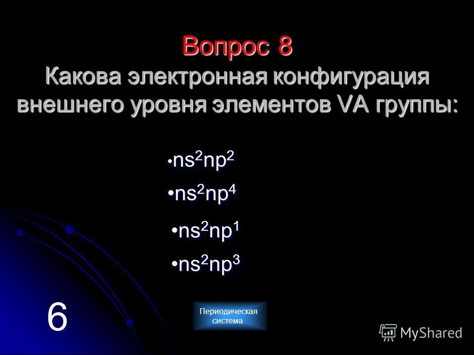 Вопрос 8 Какова электронная конфигурация внешнего уровня элементов VА группы: n n ssss 2222 nnnn pppp 2222 n ssss 2222 nnnn pppp 4444 n ssss 2222 nnnn pppp 3333 n ssss 2222 nnnn pppp 1111 6 Периодическая система