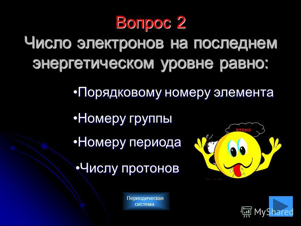 Вопрос 2 Число электронов на последнем энергетическом уровне равно: Порядковому номеру элемента Номеру группы Номеру периода Числу протонов верно Периодическая система