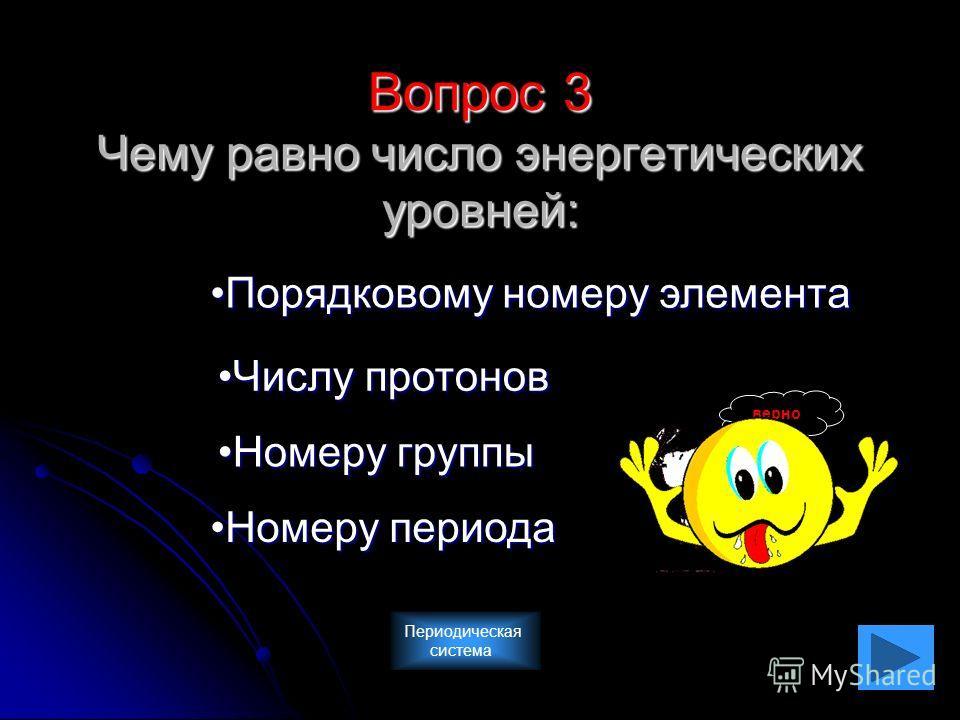 Вопрос 3 Чему равно число энергетических уровней: Порядковому номеру элемента Номеру группы Номеру периода Числу протонов верно Периодическая система