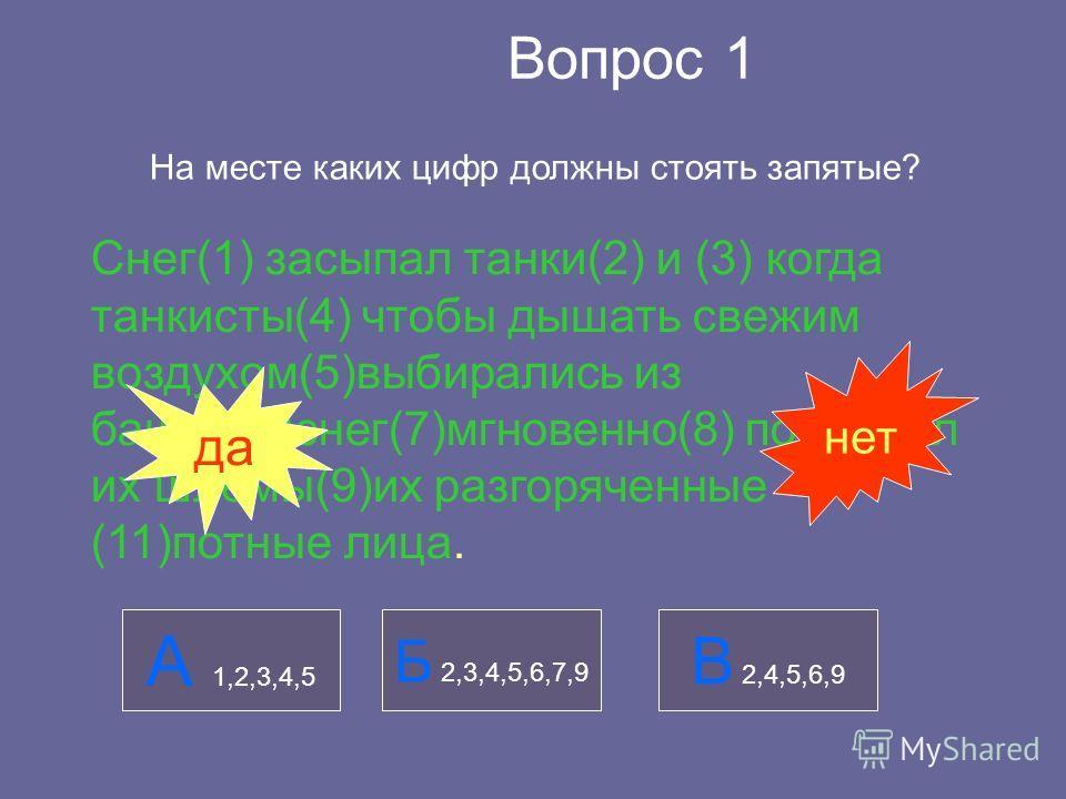 Вопрос 1 На месте каких цифр должны стоять запятые? Снег(1) засыпал танки(2) и (3) когда танкисты(4) чтобы дышать свежим воздухом(5)выбирались из башни(6)снег(7)мгновенно(8) покрывал их шлемы(9)их разгоряченные (11)потные лица. А 1,2,3,4,5 Б 2,3,4,5,
