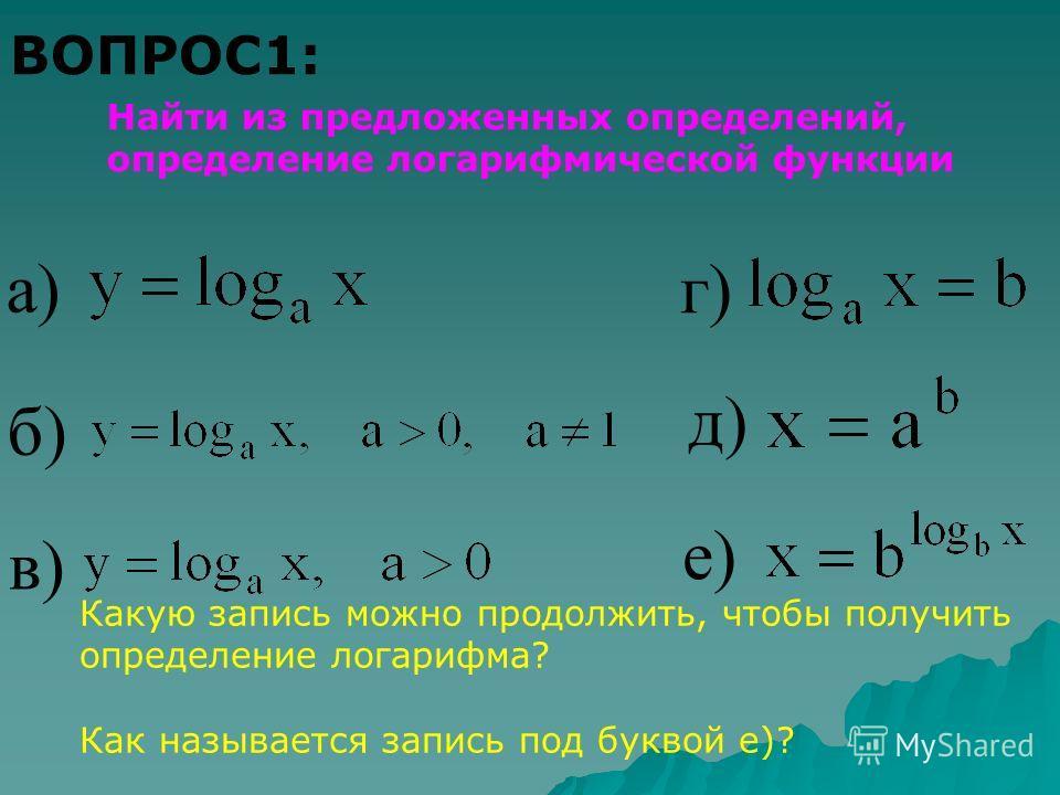 ВОПРОС1: Найти из предложенных определений, определение логарифмической функции а) в) д) б) г) е) Какую запись можно продолжить, чтобы получить определение логарифма? Как называется запись под буквой е)?