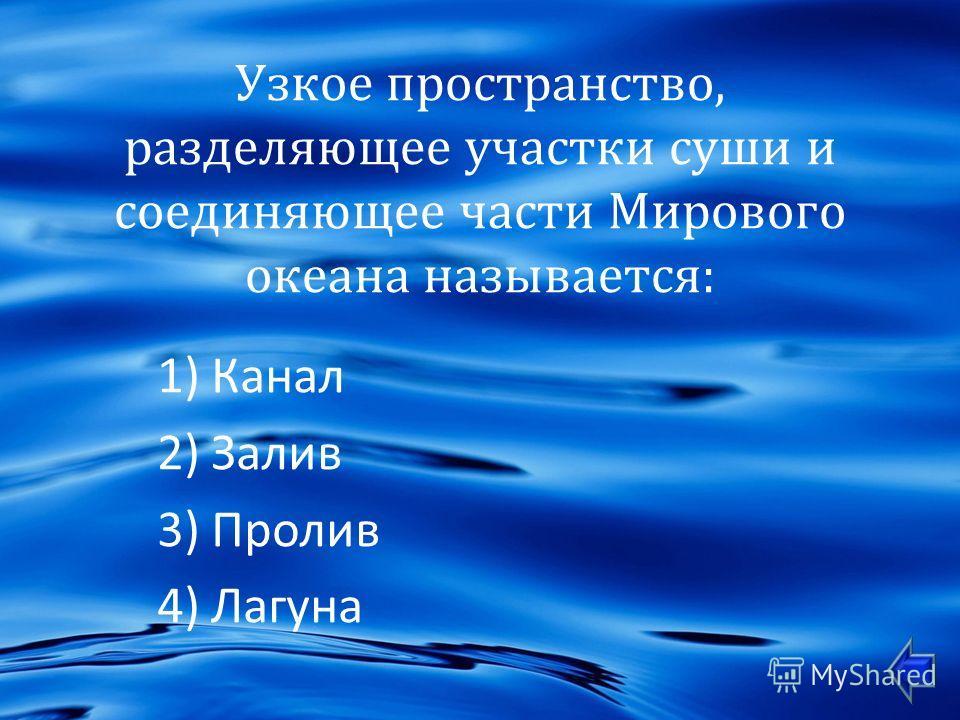 Узкое пространство, разделяющее участки суши и соединяющее части Мирового океана называется : 1)Канал 2)Залив 3)Пролив 4)Лагуна