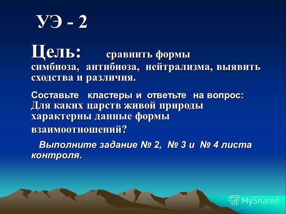 УЭ - 2 УЭ - 2 Цель: сравнить формы симбиоза, антибиоза, нейтрализма, выявить сходства и различия. Составьте кластеры и ответьте на вопрос: Для каких царств живой природы характерны данные формы взаимоотношений? Выполните задание 2, 3 и 4 листа контро