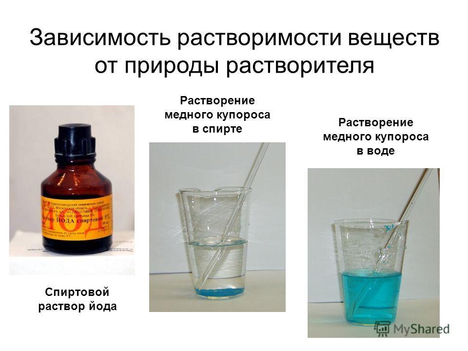 Зависимость растворимости веществ от природы растворителя Растворение медного купороса в воде Растворение медного купороса в спирте Спиртовой раствор йода