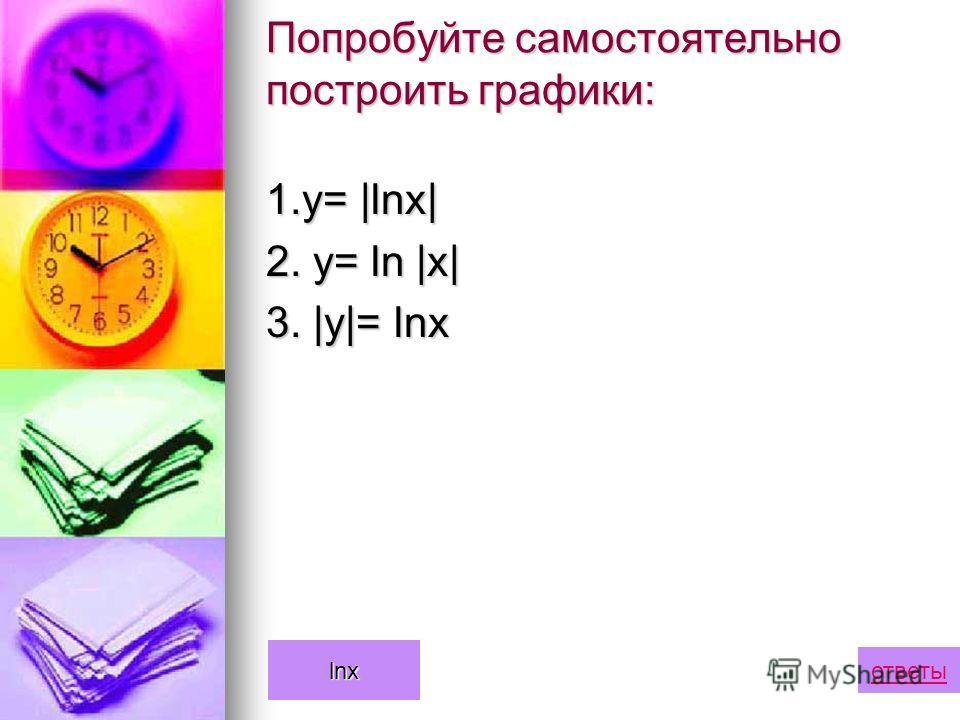 Попробуйте самостоятельно построить графики: 1.у= |lnx| 2. y= ln |x| 3. |y|= lnx ответы lnx