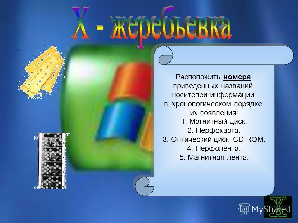 Расположить номера приведенных названий носителей информации в хронологическом порядке их появления: 1. Магнитный диск. 2. Перфокарта. 3. Оптический диск CD-ROM. 4. Перфолента. 5. Магнитная лента. Расположить номера приведенных названий носителей инф