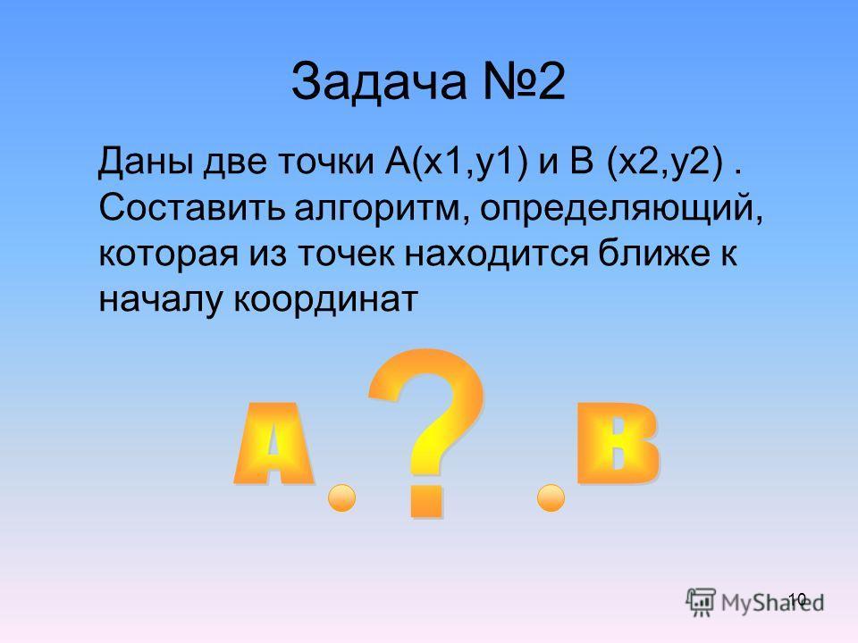 10 Задача 2 Даны две точки А(x1,y1) и В (x2,y2). Составить алгоритм, определяющий, которая из точек находится ближе к началу координат