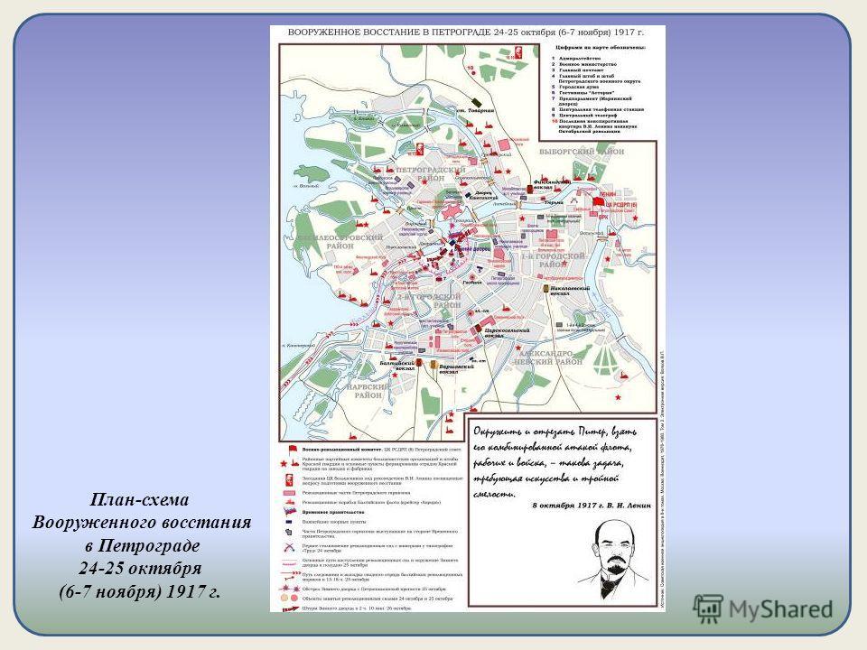 План-схема Вооруженного восстания в Петрограде 24-25 октября (6-7 ноября) 1917 г.