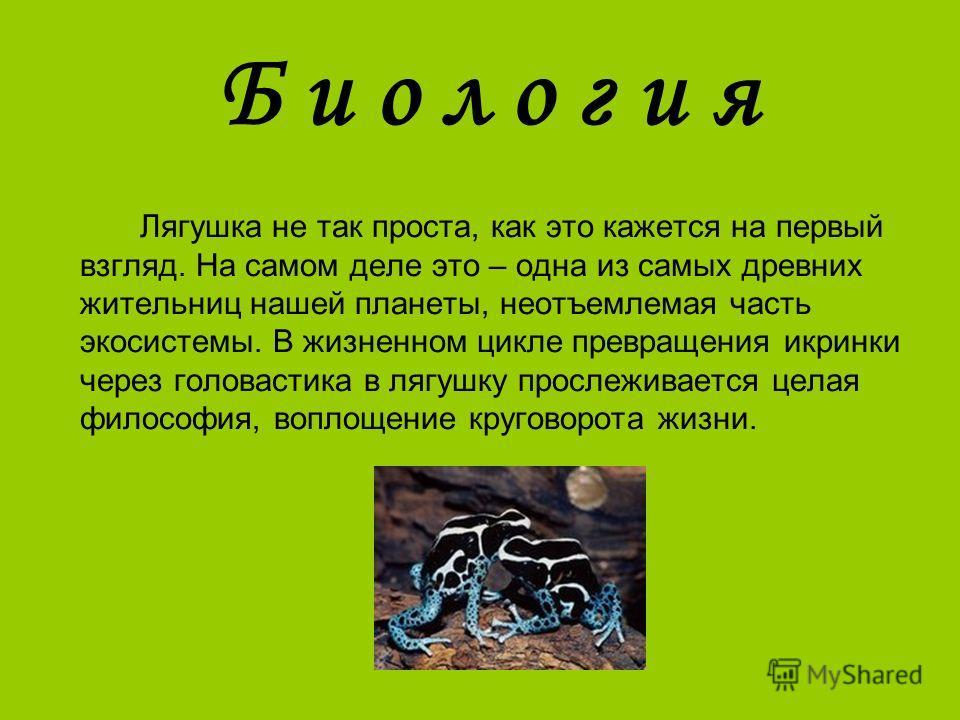 Б и о л о г и я Лягушка не так проста, как это кажется на первый взгляд. На самом деле это – одна из самых древних жительниц нашей планеты, неотъемлемая часть экосистемы. В жизненном цикле превращения икринки через головастика в лягушку прослеживаетс