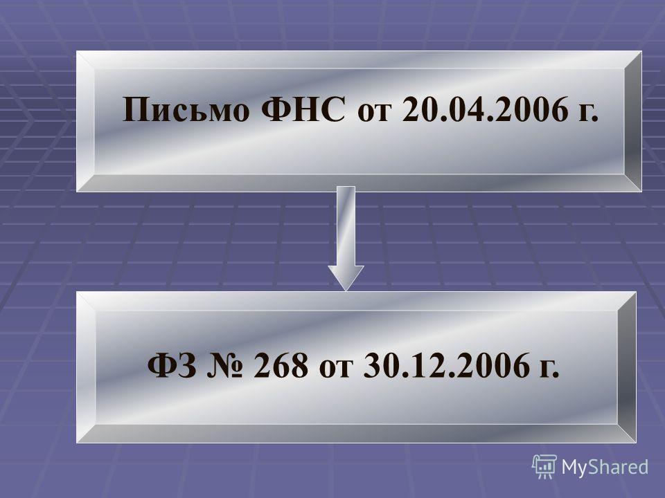 Письмо ФНС от 20.04.2006 г. ФЗ 268 от 30.12.2006 г.