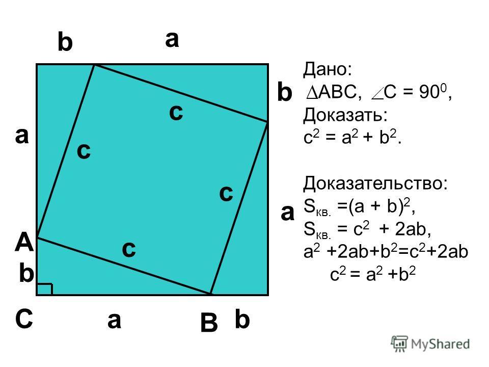 a a a b b b Дано: ABC, С = 90 0, Доказать: с 2 = а 2 + b 2. Доказательство: S кв. =(a + b) 2, S кв. = с 2 + 2ab, a 2 +2ab+b 2 =c 2 +2ab c 2 = a 2 +b 2 A B Ca b с с с с
