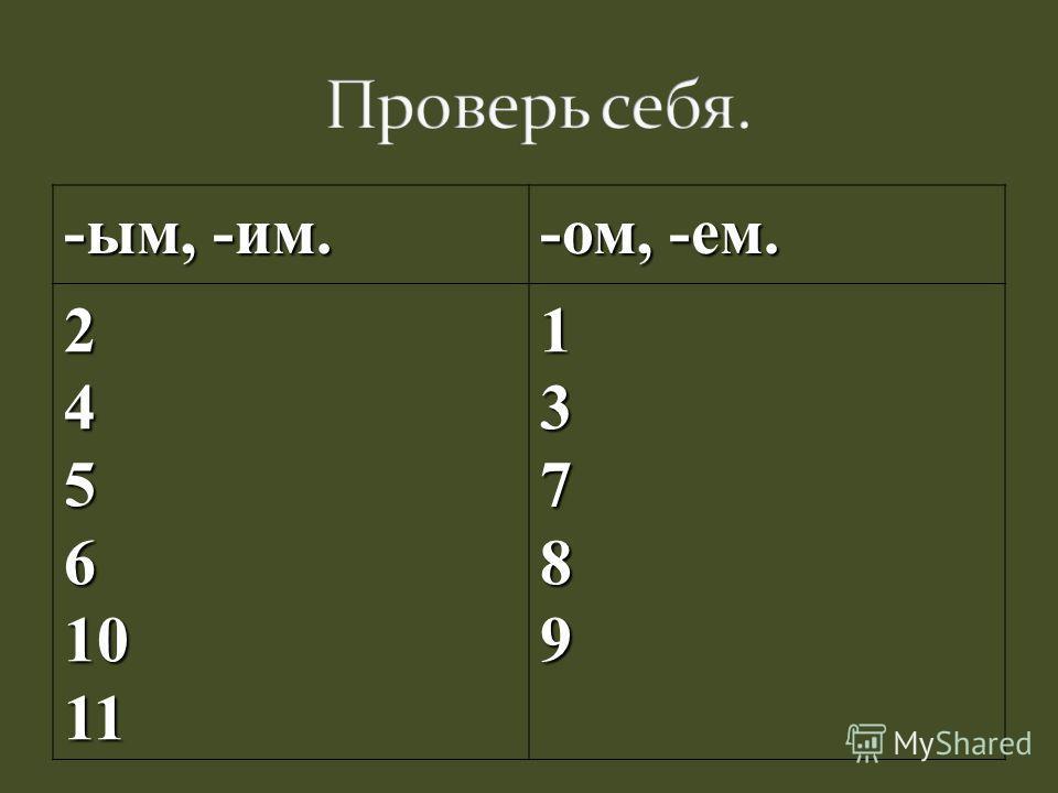 -ым, -им. -ом, -ем. 2456101113789