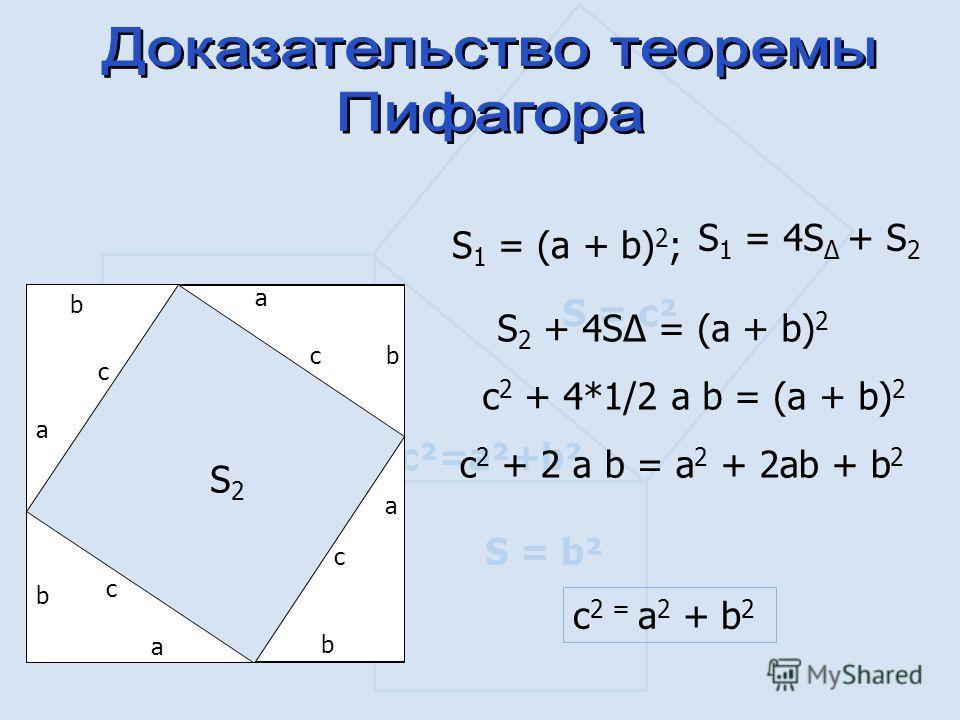 S = а ² S = b² S = c² c²=a²+b² a b c a bc a b c a b c S 1 = (a + b) 2 ; S 1 = 4S + S 2 S 2 + 4S = (a + b) 2 с 2 + 4*1/2 a b = (a + b) 2 с 2 + 2 a b = a 2 + 2ab + b 2 c 2 = a 2 + b 2 S2S2