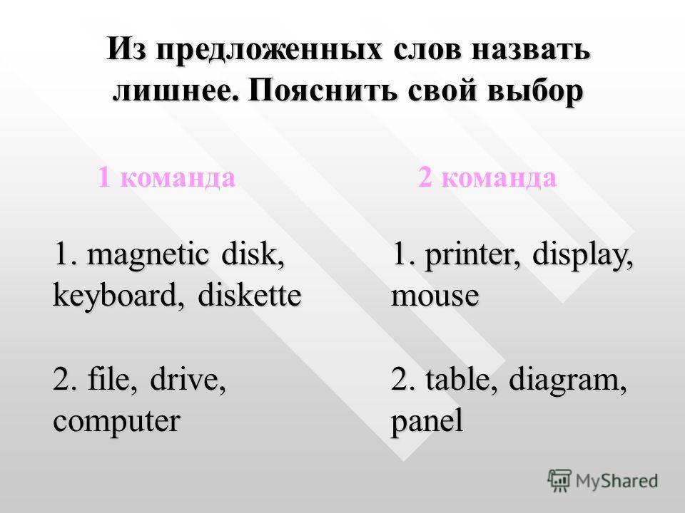 1 команда 2 команда 1. magnetic disk, keyboard, diskette 1. printer, display, mouse 2. file, drive, computer 2. table, diagram, panel Из предложенных слов назвать лишнее. Пояснить свой выбор