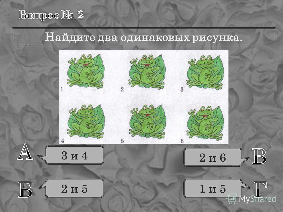 Найдите два одинаковых рисунка. 3 и 4 2 и 5 2 и 6 1 и 5