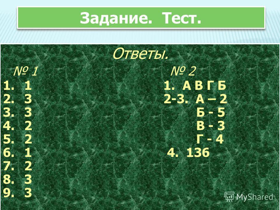 Задание. Тест. Ответы. 1 2 1. 1 1. А В Г Б 2. 3 2-3. А – 2 3. 3 Б - 5 4. 2 В - 3 5. 2 Г - 4 6. 1 4. 136 7. 2 8. 3 9. 3 Ответы. 1 2 1. 1 1. А В Г Б 2. 3 2-3. А – 2 3. 3 Б - 5 4. 2 В - 3 5. 2 Г - 4 6. 1 4. 136 7. 2 8. 3 9. 3