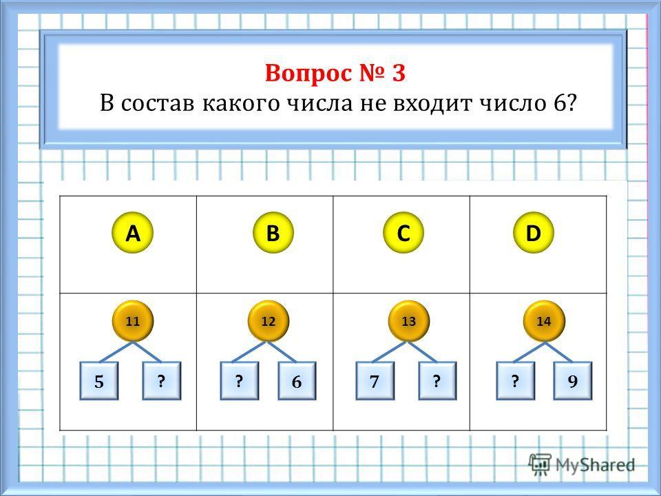 Вопрос 3 В состав какого числа не входит число 6? ABCD 11121314 5 ? 67 ?? 9 ?