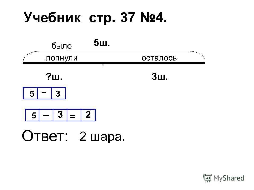Учебник стр. 37 4. было лопнулиосталось 5ш. ?ш.3ш. 5 –3 = 2 Ответ: 5 – 3 2 шара.