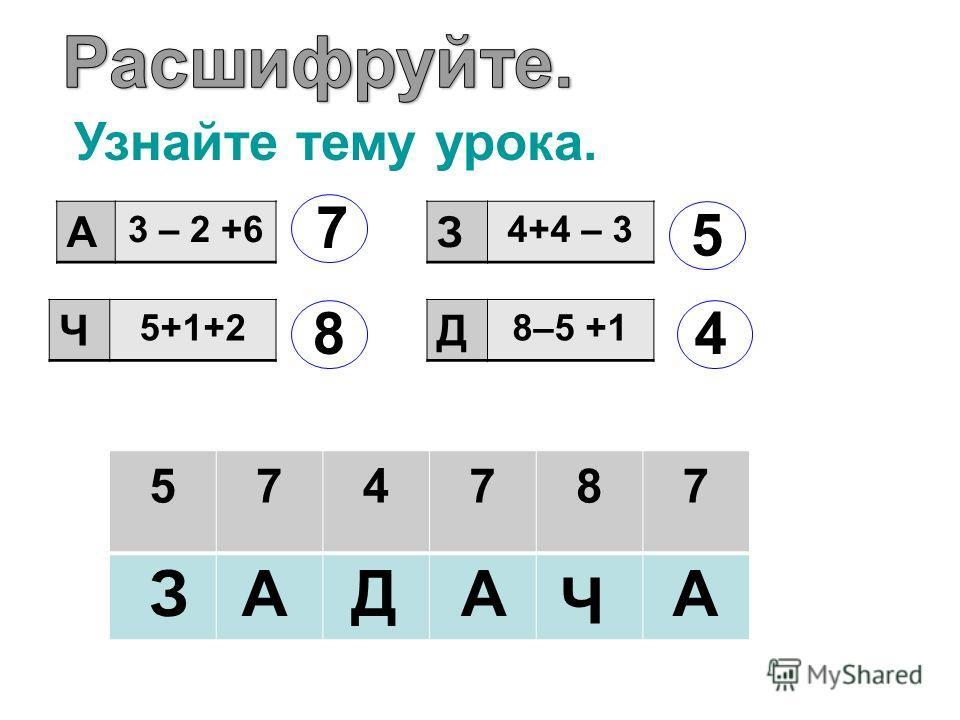 А 3 – 2 +6 Ч 5+1+2 З 4+4 – 3 Д 8–5 +1 7 8 5 4 574787 ЗАД Ч АА Узнайте тему урока.