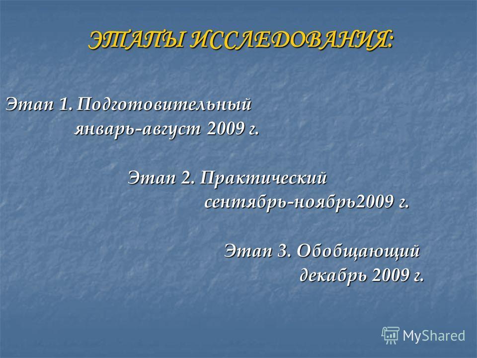 ЭТАПЫ ИССЛЕДОВАНИЯ: ЭТАПЫ ИССЛЕДОВАНИЯ: Этап 1. Подготовительный январь-август 2009 г. январь-август 2009 г. Этап 2. Практический Этап 2. Практический сентябрь-ноябрь2009 г. сентябрь-ноябрь2009 г. Этап 3. Обобщающий Этап 3. Обобщающий декабрь 2009 г.