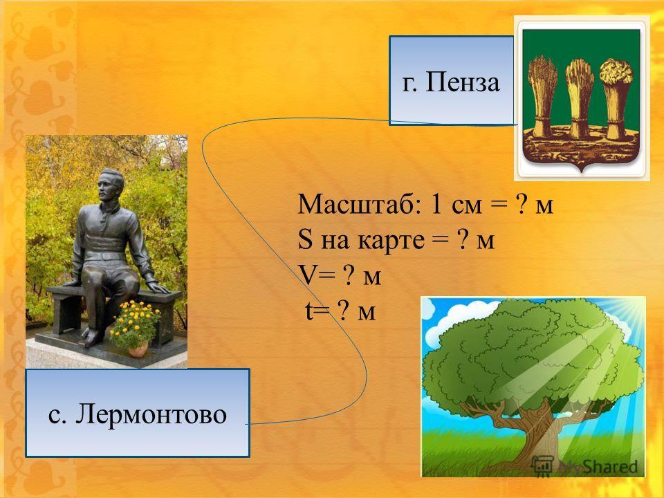 г. Пенза с. Лермонтово Масштаб: 1 см = ? м S на карте = ? м V= ? м t= ? м