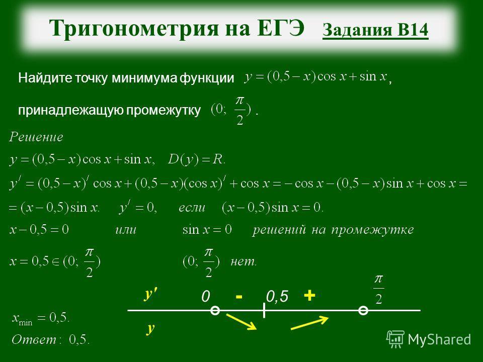 Тригонометрия на ЕГЭ Задания В14 Найдите точку минимума функции, принадлежащую промежутку. у' у 0,50 - +