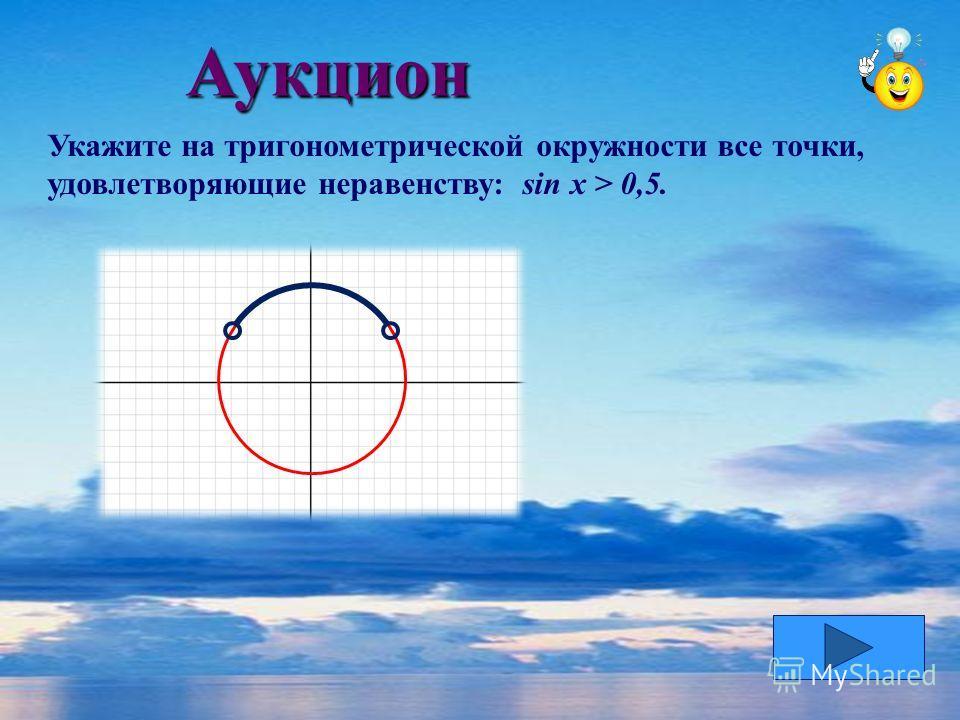 Аукцион Укажите на тригонометрической окружности все точки, удовлетворяющие неравенству: sin x > 0,5.