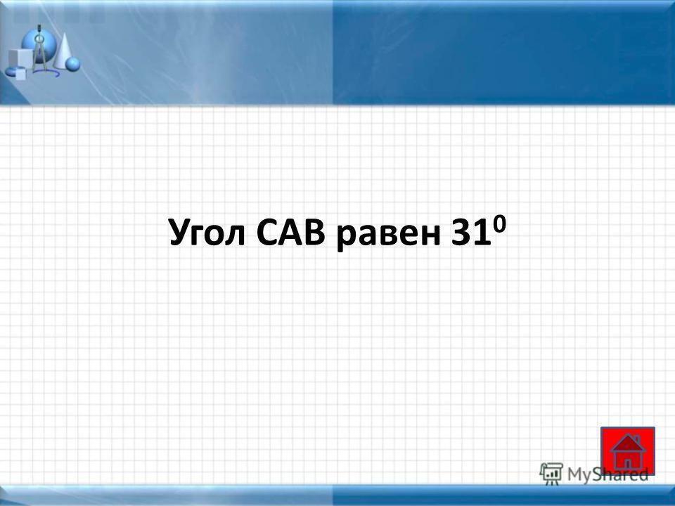 Угол САВ равен 31 0