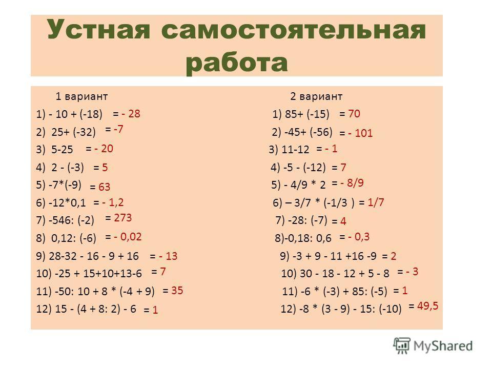 Устная самостоятельная работа 1 вариант 2 вариант 1) - 10 + (-18) 1) 85+ (-15) 2) 25+ (-32) 2) -45+ (-56) 3) 5-25 3) 11-12 4) 2 - (-3) 4) -5 - (-12) 5) -7*(-9) 5) - 4/9 * 2 6) -12*0,1 6) – 3/7 * (-1/3 ) 7) -546: (-2) 7) -28: (-7) 8) 0,12: (-6) 8)-0,1