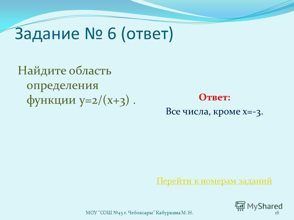Задание 6 (ответ) Найдите область определения функции у=2/(x+3). Ответ: Все числа, кроме х=-3. Перейти к номерам заданий МОУ СОШ 45 г. Чебоксары Кабуркина М. Н.16