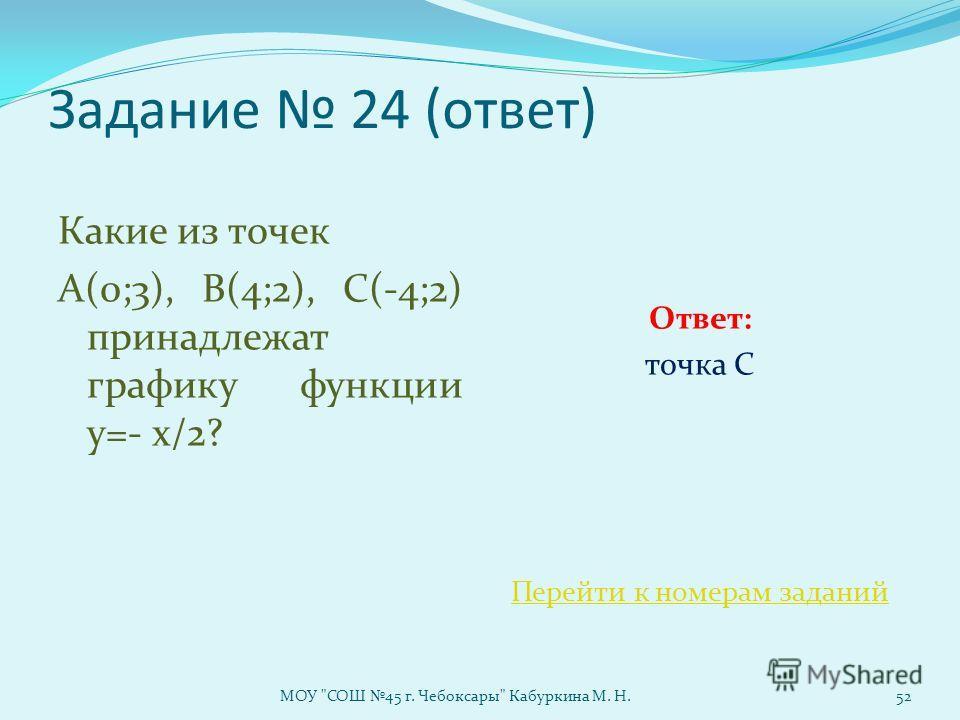 Задание 24 (ответ) Какие из точек А(0;3), В(4;2), С(-4;2) принадлежат графику функции у=- х/2? Ответ: точка С Перейти к номерам заданий МОУ СОШ 45 г. Чебоксары Кабуркина М. Н.52