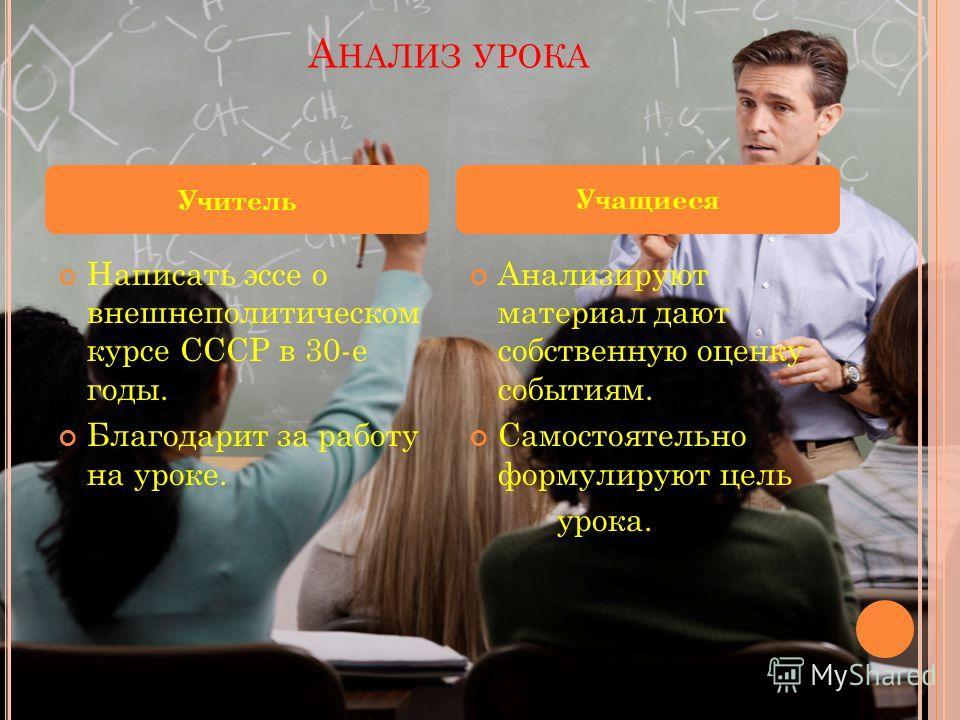 А НАЛИЗ УРОКА Написать эссе о внешнеполитическом курсе СССР в 30-е годы. Благодарит за работу на уроке. Анализируют материал дают собственную оценку событиям. Самостоятельно формулируют цель урока. Учитель Учащиеся