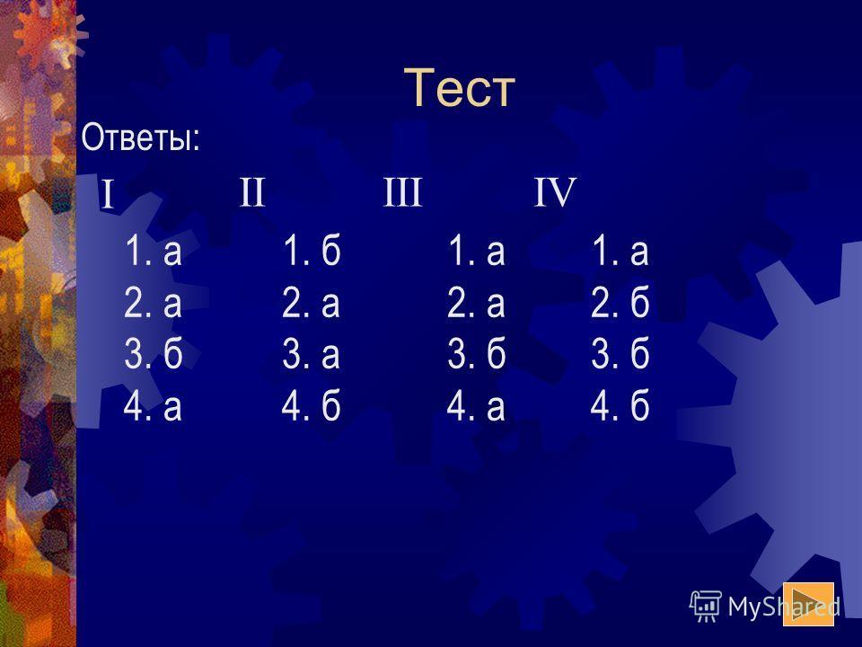 Тест I IIIIIIV 1. а 2. а 3. б 4. а 1. б 2. а 3. а 4. б 1. а 2. а 3. б 4. а 1. а 2. б 3. б 4. б Ответы: