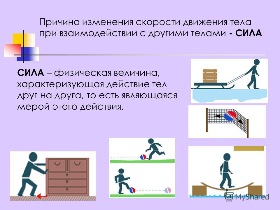 Причина изменения скорости движения тела при взаимодействии с другими телами - СИЛА СИЛА – физическая величина, характеризующая действие тел друг на друга, то есть являющаяся мерой этого действия.