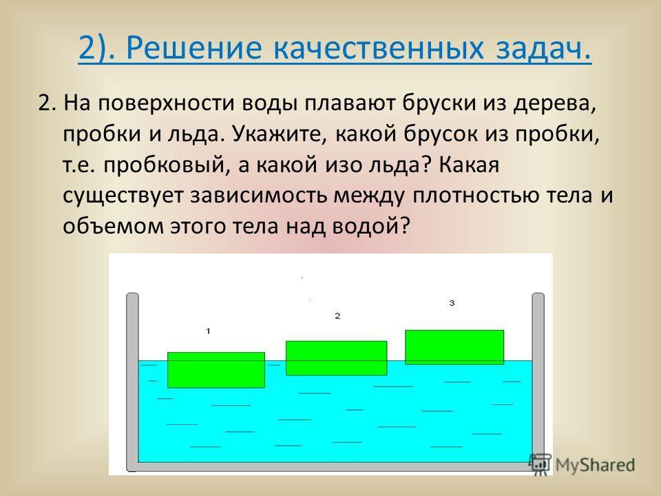 2). Решение качественных задач. 2. На поверхности воды плавают бруски из дерева, пробки и льда. Укажите, какой брусок из пробки, т.е. пробковый, а какой изо льда? Какая существует зависимость между плотностью тела и объемом этого тела над водой?