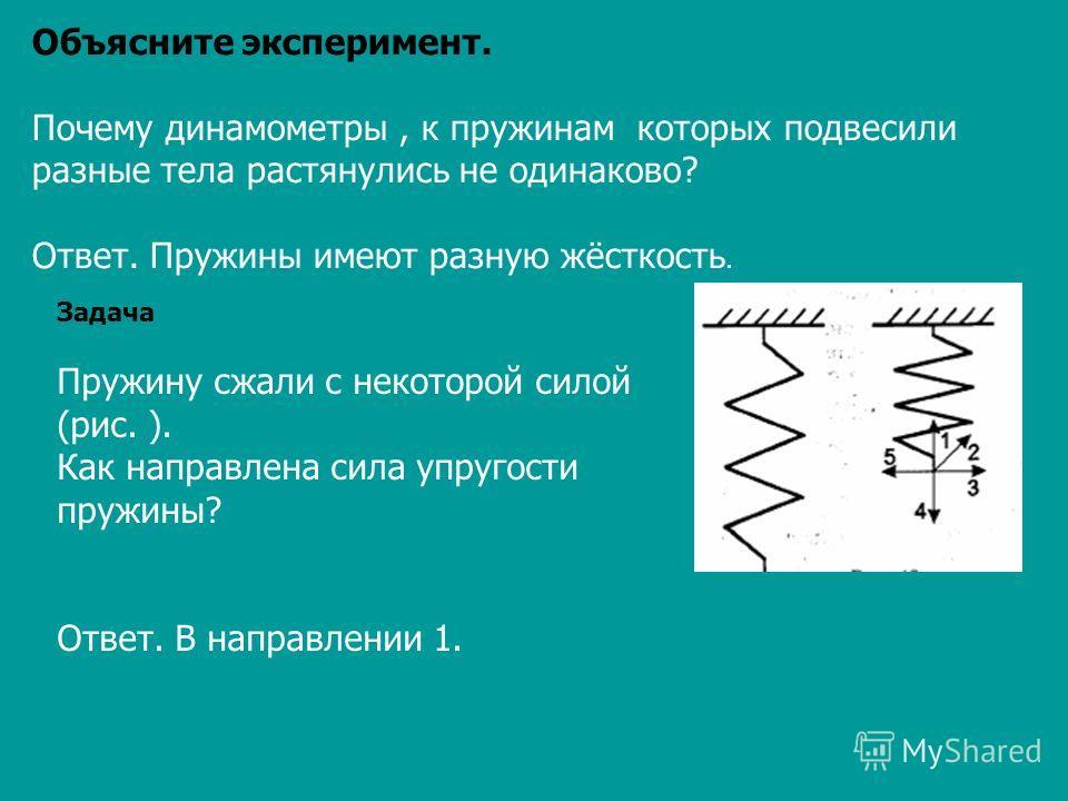 Объясните эксперимент. Почему динамометры, к пружинам которых подвесили разные тела растянулись не одинаково? Ответ. Пружины имеют разную жёсткость. Задача Пружину сжали с некоторой силой (рис. ). Как направлена сила упругости пружины? Ответ. В напра