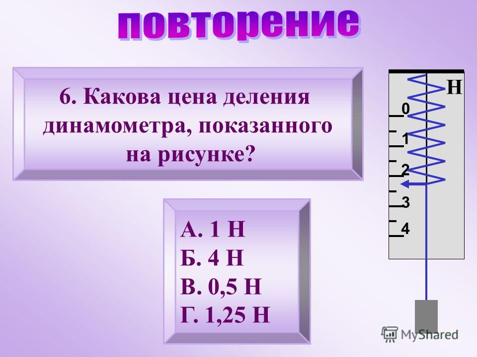 6. Какова цена деления динамометра, показанного на рисунке? А. 1 Н Б. 4 Н В. 0,5 Н Г. 1,25 Н Н 0 1 2 3 4