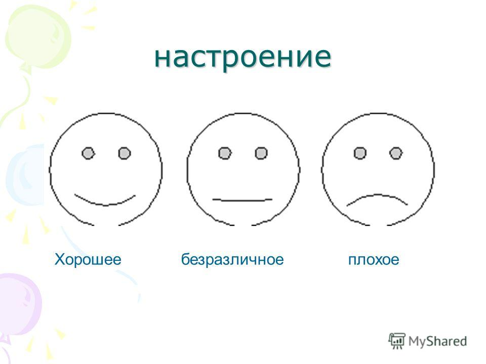настроение Хорошее безразличное плохое