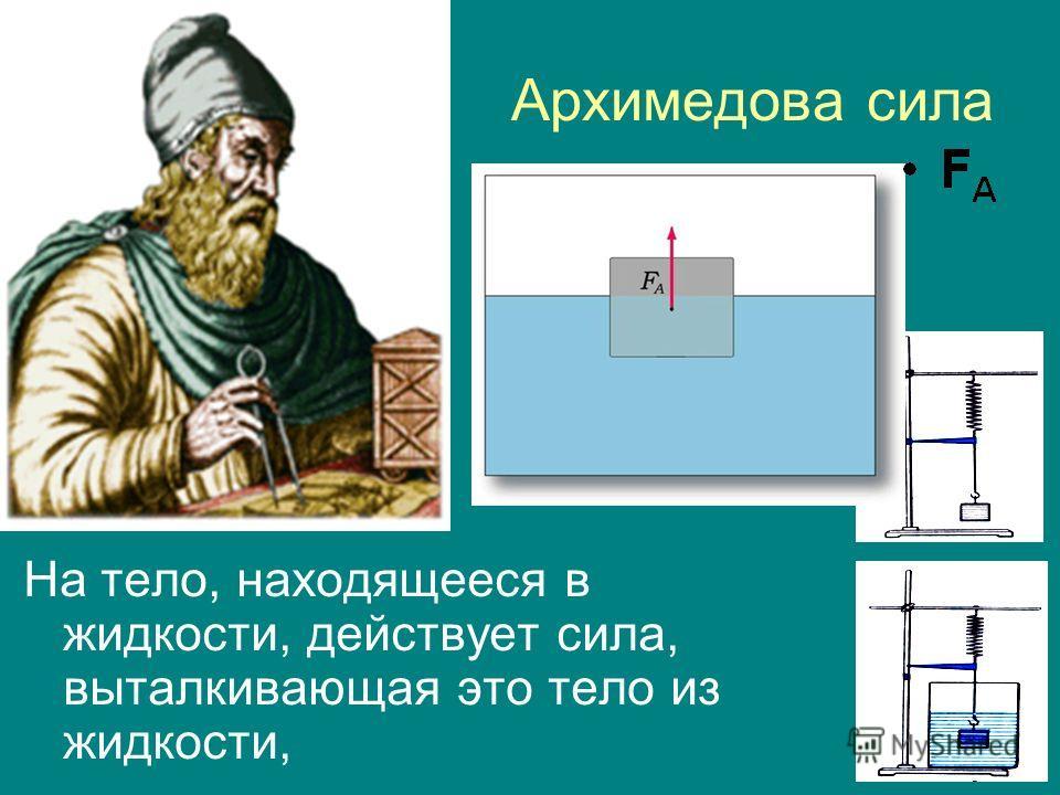 Архимедова сила На тело, находящееся в жидкости, действует сила, выталкивающая это тело из жидкости,