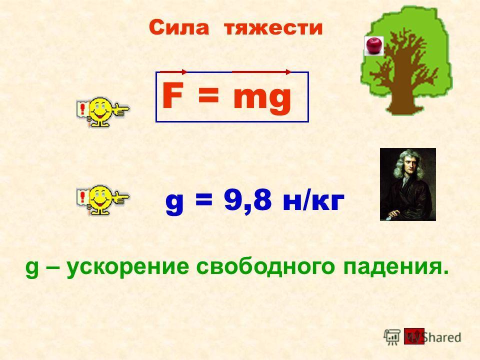 Сила тяжести F = mg g = 9,8 н/кг g – ускорение свободного падения.