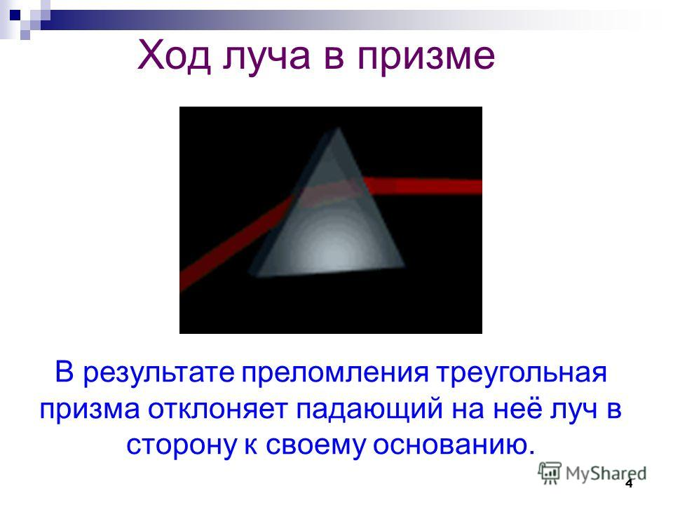 4 Ход луча в призме В результате преломления треугольная призма отклоняет падающий на неё луч в сторону к своему основанию.