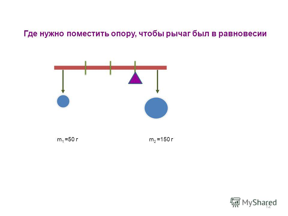 12 Где нужно поместить опору, чтобы рычаг был в равновесии m 1 =50 г m 2 =150 г