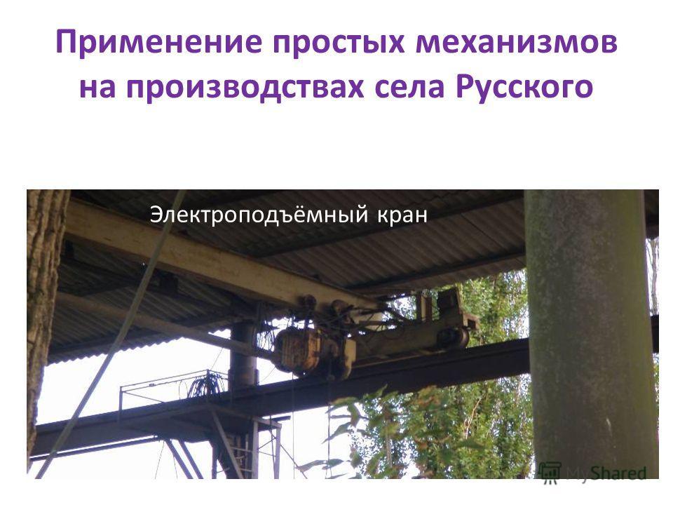 Применение простых механизмов на производствах села Русского Электроподъёмный кран