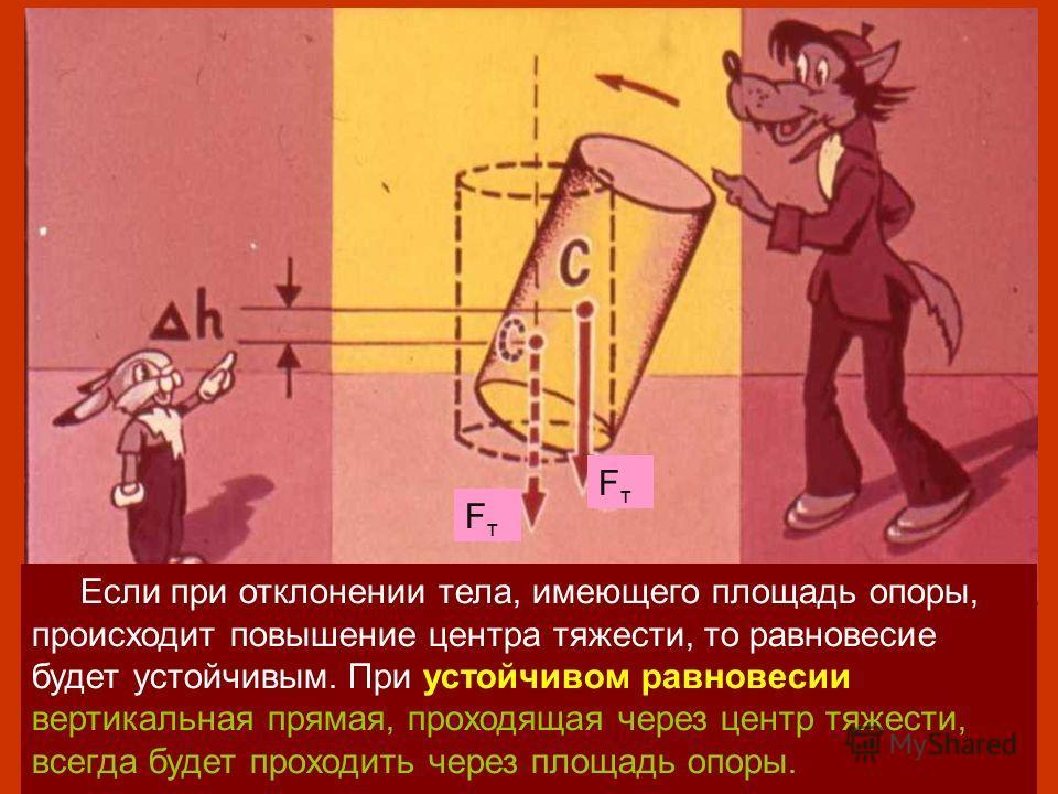FтFт FтFт Если при отклонении тела, имеющего площадь опоры, происходит повышение центра тяжести, то равновесие будет устойчивым. При устойчивом равновесии вертикальная прямая, проходящая через центр тяжести, всегда будет проходить через площадь опоры